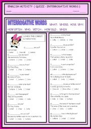 English Worksheets: INTERROGATIVE WORDS ( QUIZZ )