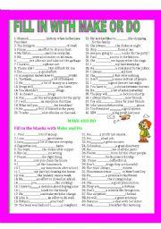 English Worksheet: MAKE AND DO.