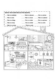 English Worksheets: Furniture and objects The House