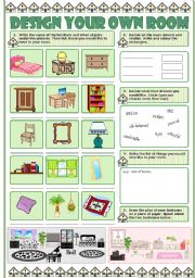 English Worksheet: DESIGN YOUR OWN ROOM