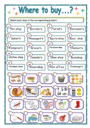 English Worksheet: WHERE TO BUY?