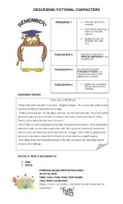 DESCRIBING CHARACTERS -  WRITING SAMPLE - EDITABLE