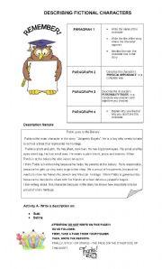 English Worksheet: DESCRIBING CHARACTERS -  WRITING SAMPLE - EDITABLE