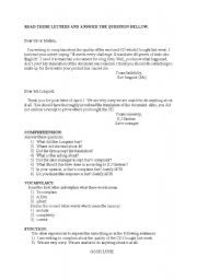 English worksheet: MAKING AND RESPONDING TO A COMPLAINT