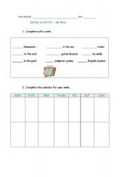 English Worksheets: my week_writing_practice