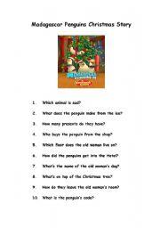 English Worksheet: Madagascar Penguins Christmas Worksheet
