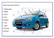 English worksheet: Name the parts of the car