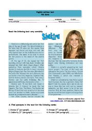 English Worksheet: Test - shakira