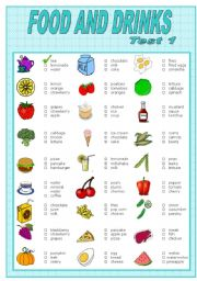 English Worksheet: FOOD AND DRINKS  TEST-1