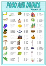 English Worksheet: FOOD AND DRINKS    TEST-2