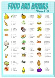 English Worksheet: FOOD AND DRINKS    TEST-3
