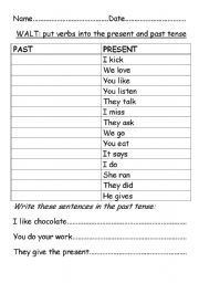 English teaching worksheets: Present tense