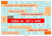 English Worksheet: TALKING GAME for elementary and pre-intermediate level • can be used for lessons with adults, too • FULLY EDITABLE
