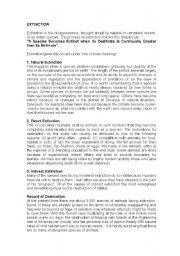 English Worksheets: Animal Extinction