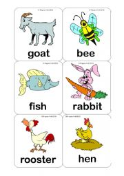 English Worksheet: Farm Animals Flashcards (15 Cards) Editable