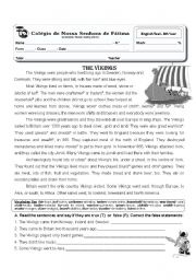 English Worksheet: 6th year test - the  vikings