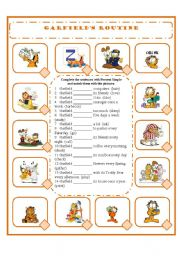 English Worksheet: GARFIELD�S ROUTINE - PRESENT SIMPLE - AFFIRMATIVE FORM