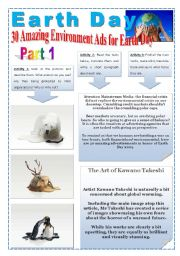 English Worksheet: EARTH DAY - (5 Pages - Part 1 of 3 - WWF Organization ) 30 AMAZING ENVIRONMENT ADS FOR EARTH DAY - TEXTS, IMAGES, EXERCISES AND EXTRA ACTIVITIES