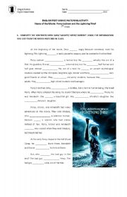 English Worksheet: Percy Jackson and the Olympians