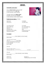 English Worksheet: Naturally - Selena Gomez