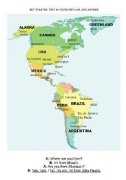 English Worksheet: Where are you from? Are you from (New York)?