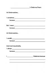 English Worksheet: Adverb Christmas Poem