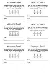 English Worksheets: VocabularyExercise I