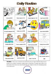 English Worksheets: Daily Routine Coin Toss