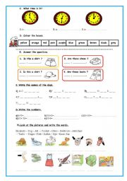 English Worksheet:  A good worksheet for revision or evaluation. (clothes, animals, time, colours, numbers, days of the week, body parts...)