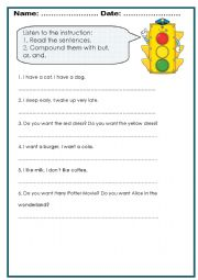 English Worksheets: But, and, or worksheet