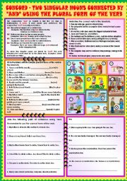 English Worksheets: Concord - Two singular nouns connected by