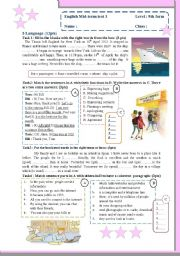 English Worksheet: Mid-term test for 9th forms (Language and listening, script included)