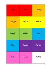 English Worksheets: Memory game colours!