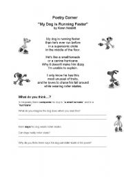 English worksheet: MY DOG IS RUNNING FASTER - POETRY