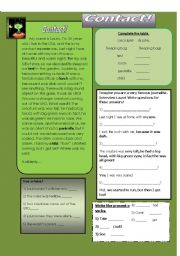 English Worksheet: Reading Comprehension: Aliens-Contact