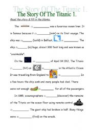 English Worksheets: The Story Of The Titanic 1