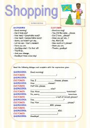 English Worksheet: SHOPPING DIALOGUE WORKSHEET