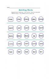 English Worksheets: Matching words