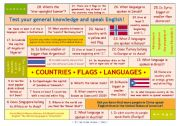 English Worksheet: QUESTION GAME ON COUNTRIES, FLAGS AND LANGUAGES for elementary and pre-intermediate level � can be used with adults, too � FULLY EDITABLE � ANSWER KEY INCLUDED!!
