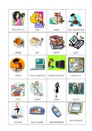English Worksheets: everyday activities CARDS