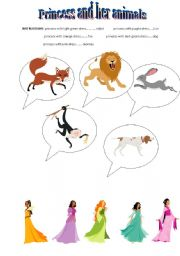 English Worksheets: Princess and her animals