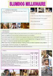 English Worksheet: Slumdog millionaire movie study (2pages)