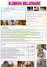 English Worksheet: Slumdog millionaire movie study (2pages)