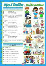 English Worksheet: LIKES & DISLIKES - Yes/No questions