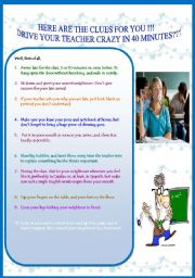 English Worksheets: tHE CLUES ! TRY AND SEE....