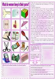 English Worksheets: What do women keep in their purse? (Reading comprehension + vocabulary + homework) ***fully editable ((2 pages))