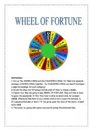 English Worksheet: WHEEL OF FORTUNE