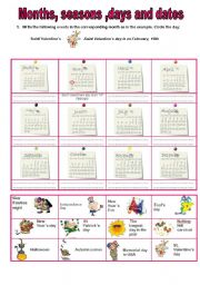 English Worksheet: Months, days and dates