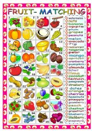 English Worksheet: FRUIT - MATCHING WORDS AND PICTURES (B&W VERSION INCLUDED)