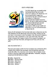 English Worksheet:  THE WORLD CUP SOUTH AFRICA 2010